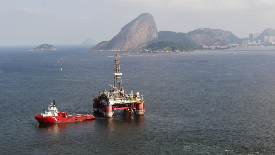 Brazil's top commodities: One of the offshore oil drills in Guanabara Bay, near Rio de Janeiro